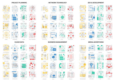 Flat thin line abstract icons vector illustration set with science network technology for seo or social media advertising, cloud data development and business project planning outline modern symbols Banco de Imagens - 153649265