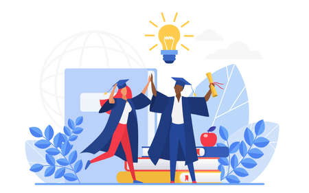Graduate people celebrate vector illustration. Cartoon flat tiny group of happy graduating students characters celebrating graduation, holding school or college education diploma isolated on white Ilustração