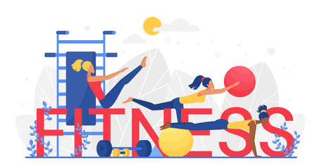 Fitness word vector illustration. Cartoon flat tiny woman characters training, doing sport exercises with ball, dumbbell equipment and big letters, sportive fitness workout concept isolated on white Ilustração