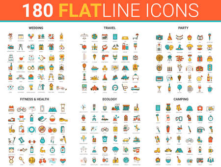 Flat thin line design icons vector illustration with fitness sport training, wedding party celebration, summer tourism or travel camping and ecology trendy green power energy outline concept symbols Ilustração