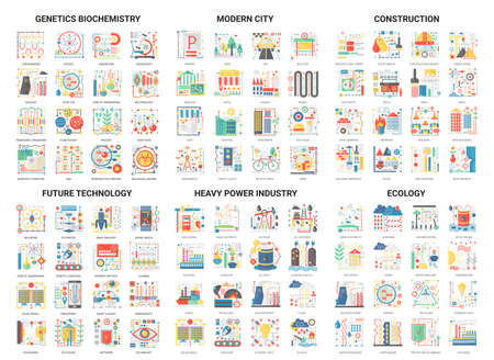 Complex concept flat icons, vector illustration modern design set with future eco technology in genetics biochemistry or heavy power industry, building city construction and ecology tech collection