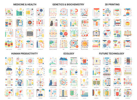 Complex concept flat abstract vector icons, modern design icon set future innovation technology in medicine and genetics biochemistry icon, 3d printing, human productivity digital symbols