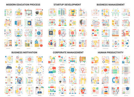 Complex concept flat abstract vector icons, modern design icon set educational and development management, corporate business education process and startup, motivation for human productivity
