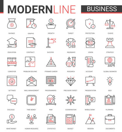 Business flat thin red black line icon vector illustration set with outline infographic symbols of success business strategy for money savings growth, successful planning budget and office work Ilustração