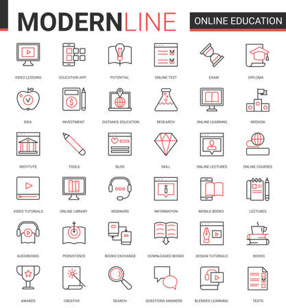 Online distance education flat thin red black line icons vector set with linear educational technology symbols for mobile apps with process learning in tech online course, school or university