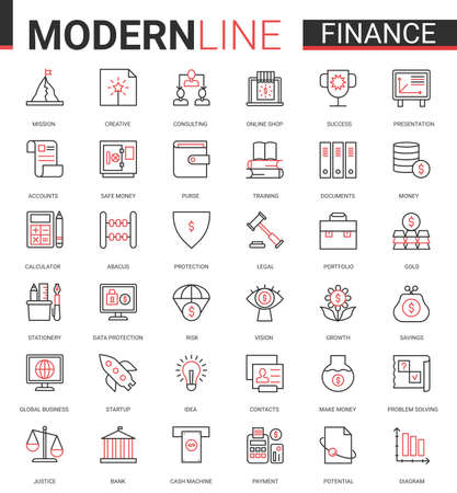 Finance flat thin red black line icon vector illustration set with outline financial business symbols collection of commerce analysis technology, economic data consulting and analyzing bank account. Ilustração