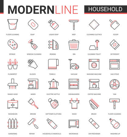 Household tools flat thin red black line icons vector illustration set, outline house cleaning, cooking or gardening linear symbols, housework collection of domestic cleaner equipment, home appliances