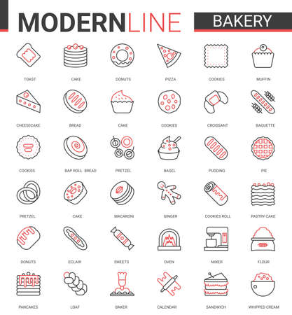 Bakery red black thin line icon vector illustration set. Sweet food dessert outline pictogram collection with baker chef sugar products and equipment, bread cake pie cookie cheesecake symbols Ilustração