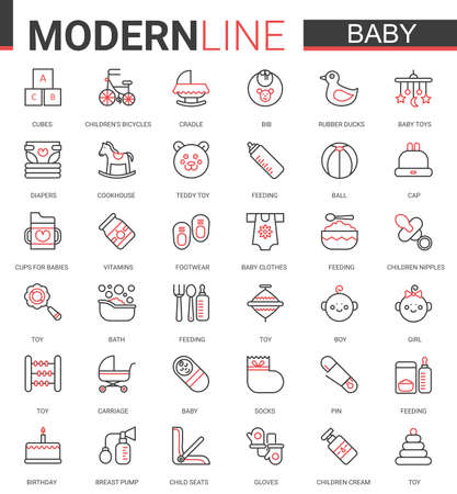 Baby care flat web icon vector illustration set. Red black thin line design of items symbol for newborn infant child, baby accessories, clothes and toys. Maternity and childhood outline collection