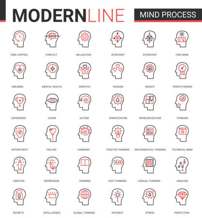 Mind process flat line icon vector illustration set. Red black thin linear symbols for mobile app website with human head in brainstorm processing, mental health problem, cogwheel inside brain concept