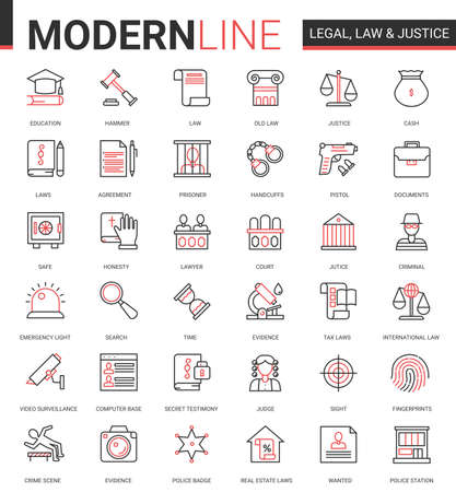 Legal law and justice flat icon vector illustration set. Red black thin line infographic design of mobile app website symbols with judicial legislation education, lawyer defense, police investigation