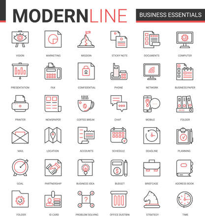 Business thin red black line icon vector illustration set. Business essential website outline pictogram symbols collection with office objects, equipment and documents for financial development Ilustração