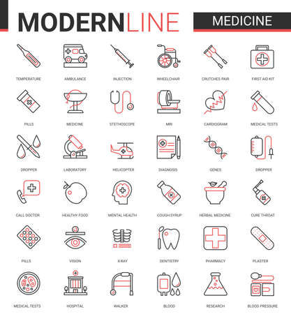 Medicine healthcare thin line icon vector illustration set. Red black thin linear design collection, medical health care symbols for mobile apps with hospital research lab equipment, doctor treatment