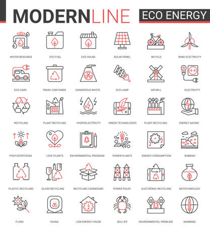 Eco energy flat icon vector illustration set. Red black thin line website design collection of ecology problems linear symbols, environmental ecosystem protection and green waste recycling technology