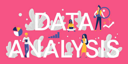 Data analysis word concept vector illustration. Cartoon flat tiny business analyst or customer characters working with laptop and tablet, analyzing database information, standing next to big letters