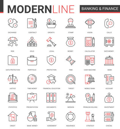 Finance and banking flat thin red black line icons vector illustration set. Creative website financial outline symbols of digital bank software, legal insurance and cyber security business collection