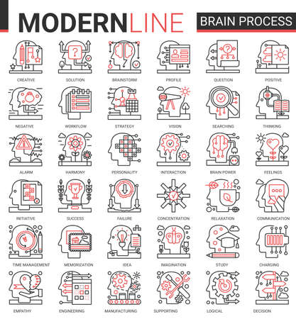 Brain process concept complex thin red black line icons vector set with human mind processing in learning, brainstorm thinking or searching success idea, empathy and social psychology, creativity