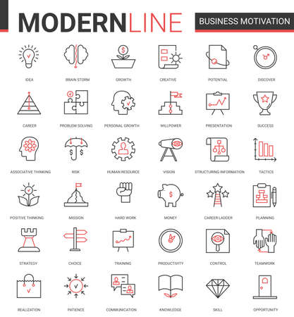 Business motivation thin red black line icon vector illustration set with motivational outline symbols for productivity of financial processes, teamwork business planning, communication training Ilustração