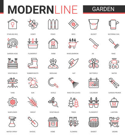 Garden farm tools flat icon vector illustration set. Red black thin line gardening or landscaping accessories for gardener farmer worker, agriculture equipment collection of outline pictogram symbols