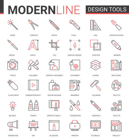 Art design tool flat thin red black line icons vector illustration set, outline professional creative artistic studio items collection of designer pictogram process equipment, interior repair supplies