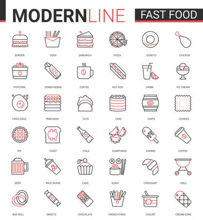 Fast food flat thin red black line icons vector illustration set, outline streetfood cafe menu linear symbols, junk food collection of linear burger sandwich pizza donut pie cake pancakes croissant