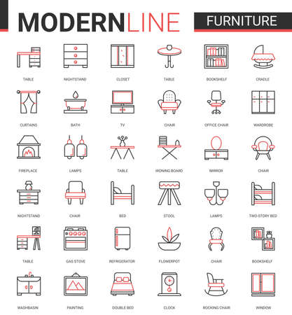 Furniture flat thin red black line icons vector illustration set, outline finishing items decorate home or office room interior, linear decor symbols collection with chair lamp table bed bookshelf tv