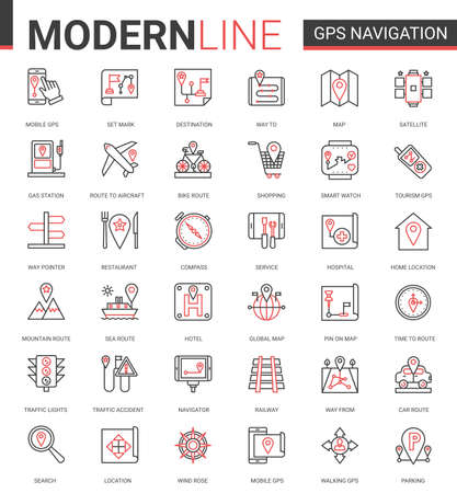 Gps navigation service line icon vector illustration set. Red black thin linear website design collection of travel symbols for mobile navigator, map geo location of home or traveling destination Ilustração