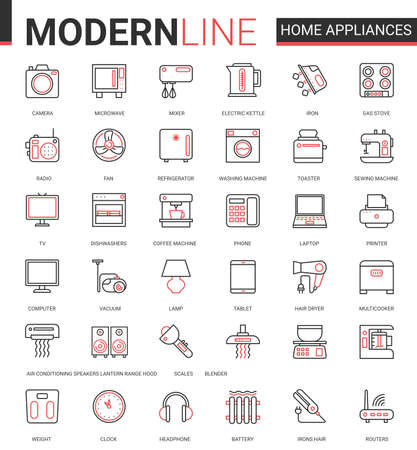 Home appliances flat line icon vector illustration set. Red black thin linear symbols for house cleaning, kitchen or bathroom household items, hair body care and electronic gadgets outline collection
