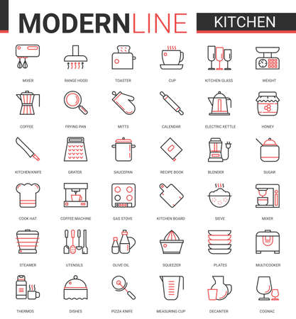 Kitchen flat line icon vector illustration set. Red black thin linear kitchenware utensil, glass dishware, equipment tools for cooking food and household appliances mobile app symbols collection Banco de Imagens - 154729085