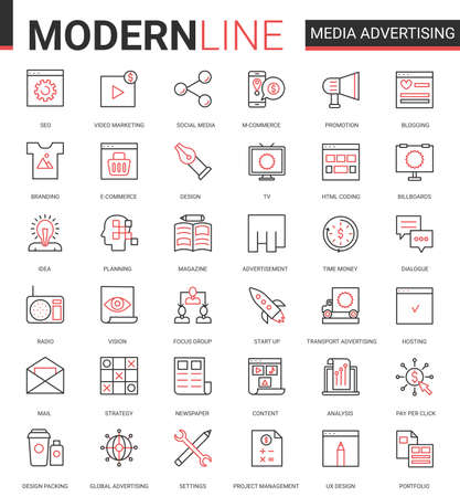 Media advertising flat icon vector illustration set. Red black thin line collection of outline infographic pictogram symbols for mobile apps with marketing strategy research, promotion in social media Ilustração