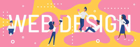 Web design word concept vector illustration. Cartoon flat designer developer people standing next to big web design lettering text, developing and designing creative art webpage interface background