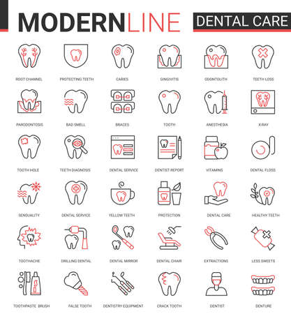 Dental care medicine flat thin red black line icons vector illustration set, outline dentistry healthcare website symbols collection with medical tooth implant pictogram, dentist equipment, toothpaste