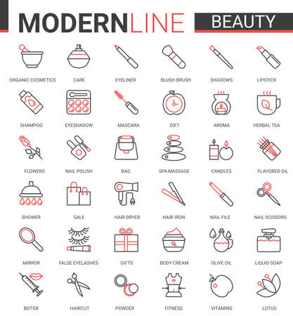 Beauty cosmetics flat icon vector illustration set. Red black thin line website design, face or body skin care organic cosmetics, spa salon items for beautiful woman, aroma therapy outline collection