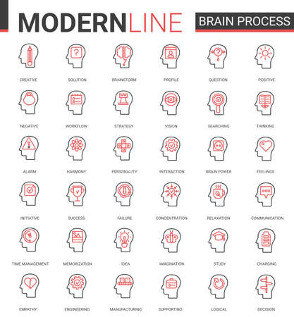 Brain process flat thin red black line icons vector illustration set with human mind processing in learning, brainstorm thinking or searching success idea, empathy and social psychology, creativity