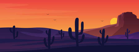 Texas or Mexican desert panorama landscape. American traditional nature background. Vector prairie landscape with sun and cactuses. Retro Arizona Western Day sunset for print, poster or wall picture