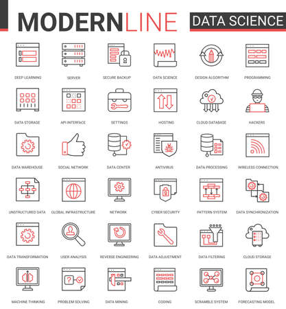 Data science thin red black line icon vector illustration set with outline symbols collection of scientific technology in database storage internet systems, cyber security of network connection