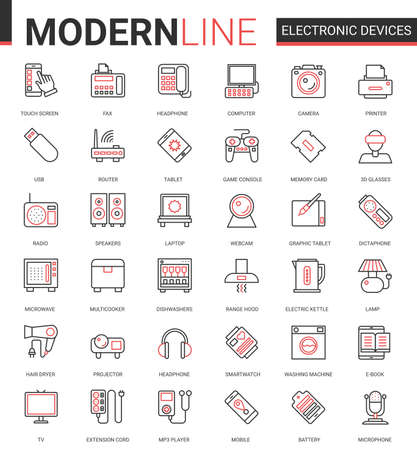 Electronic devices flat icon vector illustration set. Red black thin line computer game accessories and kitchen appliances collection of outline electronically symbols for gadget or kitchenware store