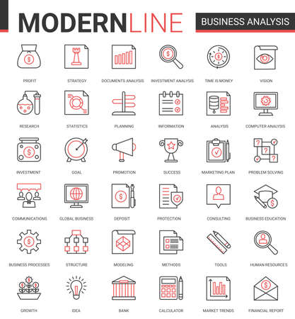 Business analytics flat thin red black line icons vector illustration set, businessman analyst tools for digital analyzing stock market information, consulting strategy outline web symbols collection Ilustração