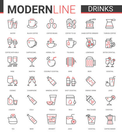 Drink flat thin red black line icons vector illustration set, outline drinking liquid and beverage website symbols collection of coffee or tea cup and equipment, alcohol cocktails, cafe or bar menu Çizim