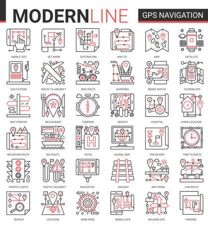 Gps navigation service complex concept line icon vector set. Red black thin linear website design collection of travel symbols for mobile navigator, map geo location of home or traveling destination Ilustrace