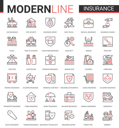 Insurance flat thin red black line icon vector illustration set with outline assurance infographic app symbols of insurance service for family health, home property or car transport, business finance