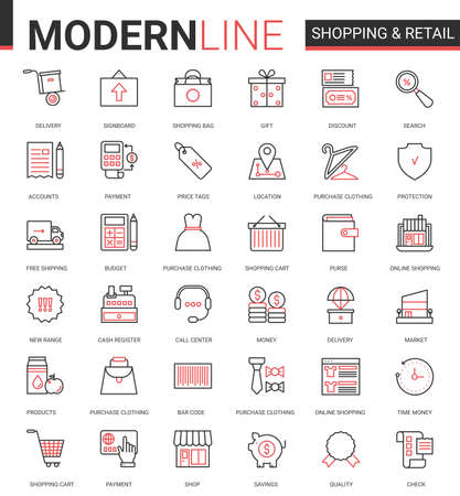 Shopping retail thin red black line icon vector illustration set. Linear commercial shop website app symbols for online order, free shopping delivery, customer web support call center editable stroke Ilustração