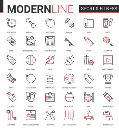 Fitness healthy lifestyle flat thin red black line icon vector illustration set with athletic sportive equipment outline symbols for sport exercises and yoga activity, training and healthcare diet Ilustração
