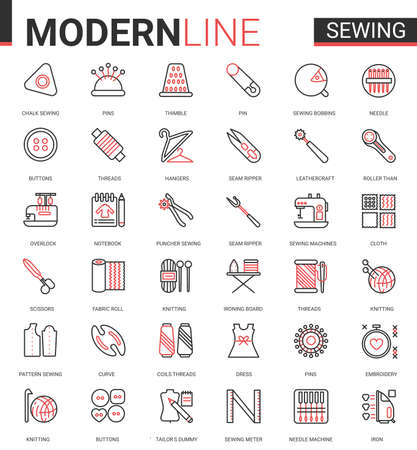 Sewing tailoring thin red black line icon vector illustration set. Outline tailor needlework app symbols, equipment and items collection for embroidery knitting or sewing clothes work editable stroke