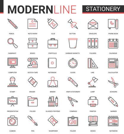 Stationery thin red black line icon vector illustration set. Linear school and business office supplies symbols collection with pen pencil scissors folder glue calculator calendar notebook book folder Banco de Imagens - 154895597