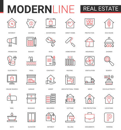 Real estate thin red black line icon vector illustration set. Linear symbols of house sale or insurance contract, mortgage calculator of home apartment search app, household equipment editable stroke