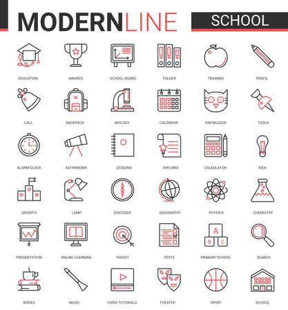School education thin red black line icon vector illustration set with outline schooling ui mobile app collection of educational items for students and school subjects, editable stroke study symbols