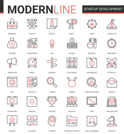 Business startup development technology thin red black line icon vector illustration set. Outline successful business strategy for starting new project symbols with developing innovation idea research