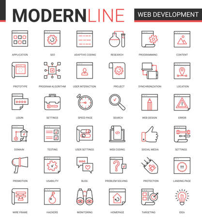 Web development thin red black line icon vector illustration set. Outline website mobile app developing symbols collection of optimization for webpage content, user interface design application Ilustração
