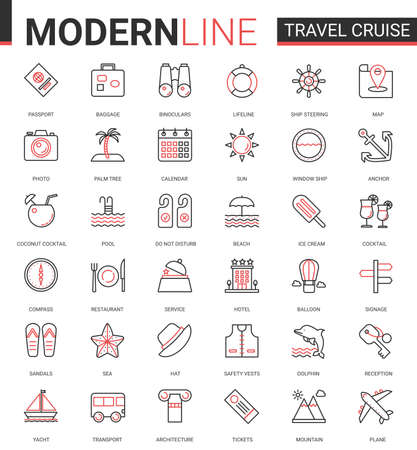 Travel cruise thin red black line icon vector illustration set. Outline tourism mobile app symbols of traveling transport, hotel service for tourists, sea summer beach party items editable stroke Banco de Imagens - 155154143